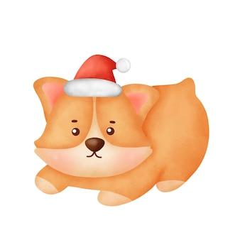 Akwarela pies corgi kreskówka z boże narodzenie kapelusz na kartki świąteczne.