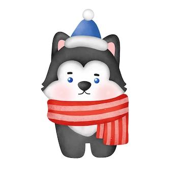Akwarela pies husky kreskówka na kartki świąteczne.