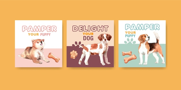 Akwarela pies reklama szablon karty zestaw