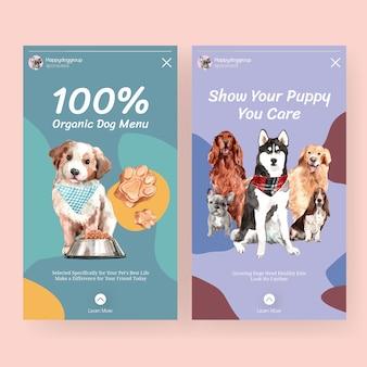 Akwarela pies reklama transparent szablon zestaw