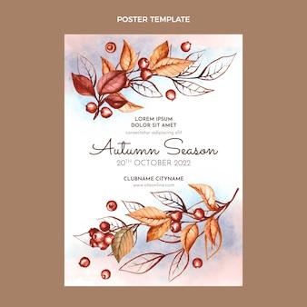 Akwarela pionowy jesienny plakat szablon