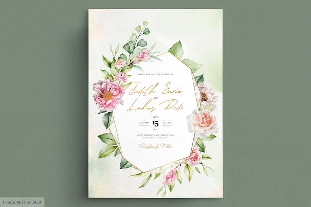 Akwarela piwonie i róże karta zaproszenie