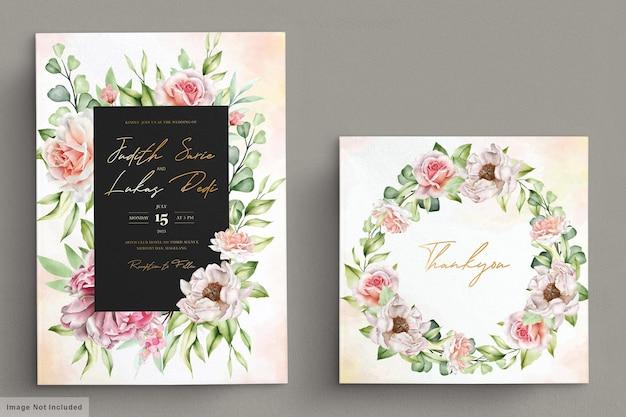 Akwarela piwonie i róże zestaw kart zaproszenie