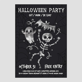 Akwarela plakat party halloween