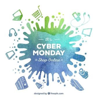 Akwarela plama tła cyber poniedziałek