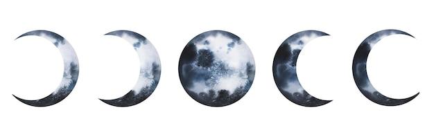 Akwarela planety fazy zaćmienia księżyca wektor zestaw