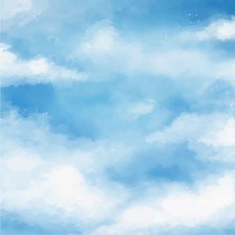 Akwarela pochmurne niebo tło
