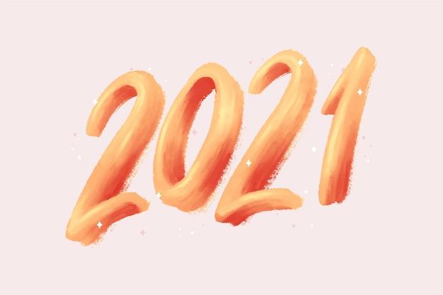 Akwarela pociągnięcie pędzlem nowy rok 2021 tło