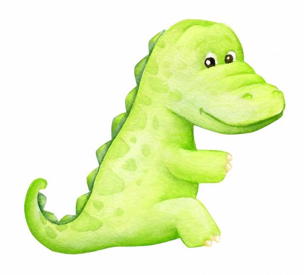 Akwarela pojedynczy aligator zwierzę na białym tle