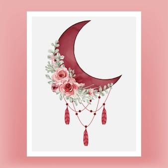 Akwarela półksiężyc w kolorze czerwonym bordowym z kwiatem