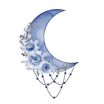 Akwarela półksiężyc w niebieskim odcieniu z kwiatkiem
