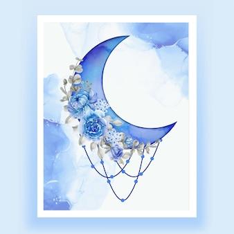 Akwarela półksiężyc z niebieskim kwiatem