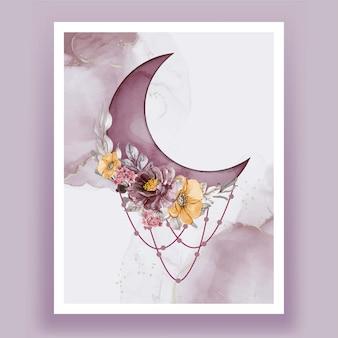 Akwarela półksiężyc z różowym fioletowym kwiatem