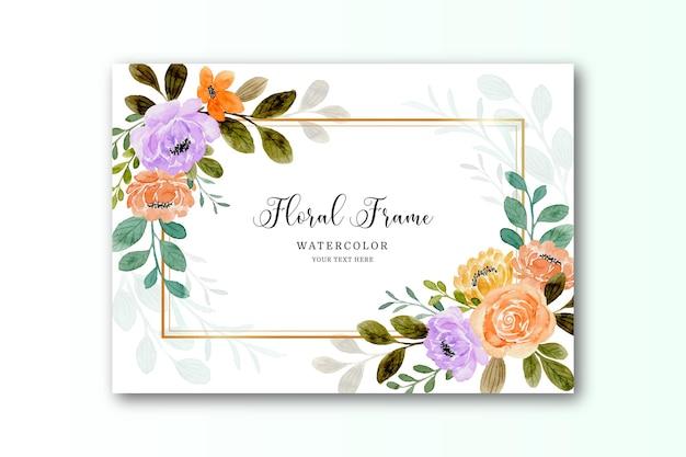 Akwarela pomarańczowa karta kwiatowa róża ze złotą ramą