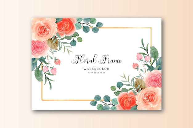 Akwarela pomarańczowa różowa róża ze złotą ramą