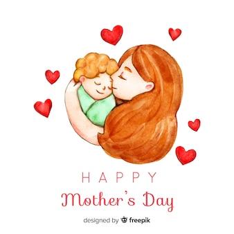 Akwarela portret matki dzień tło