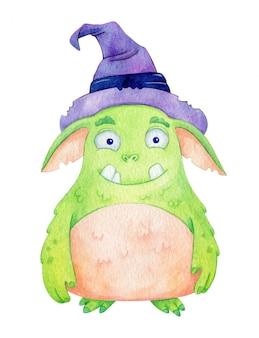 Akwarela Potwór Czarownicy. śliczna Zielona Postać Z Kapeluszem Wiedźmy Dla Dzieci Premium Wektorów