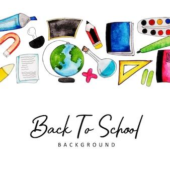 Akwarela powrót do szkoły w tle