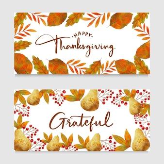 Akwarela projekt banery dziękczynienia