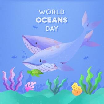 Akwarela projekt światowego dnia oceanów