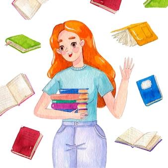 Akwarela projekt światowy dzień książki
