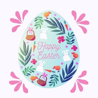 Akwarela projekt szczęśliwy dzień wielkanocny z jajkiem