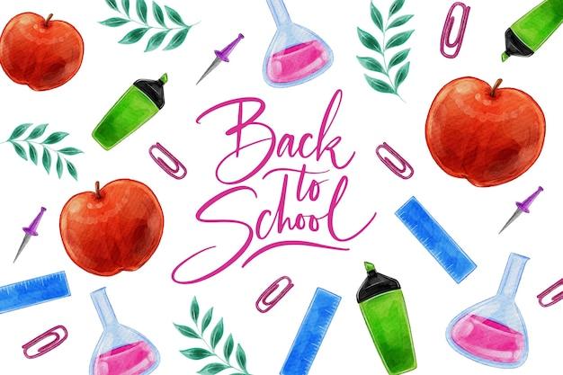 Akwarela projekt z powrotem do szkoły