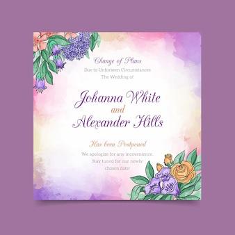 Akwarela przełożona karta ślubu