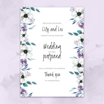 Akwarela przełożone szablon karty ślubu