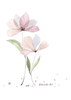 Akwarela przezroczysty ładny kwiat i gałęzie na białym tle. sztuka botaniczna ręcznie malowana akwarelą. idealne na zaproszenia, kartki okolicznościowe lub dekoracje ścienne.
