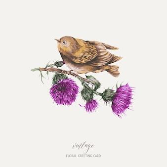 Akwarela ptak na gałęzi z ilustracji botanicznych kartkę z życzeniami ostu