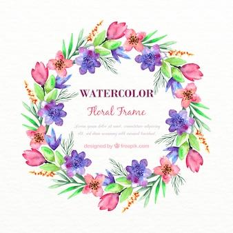 Akwarela purpurowe kwiaty wieniec