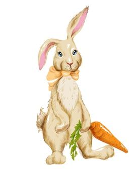 Akwarela puszysty królik z muszką trzyma dużą marchewkę