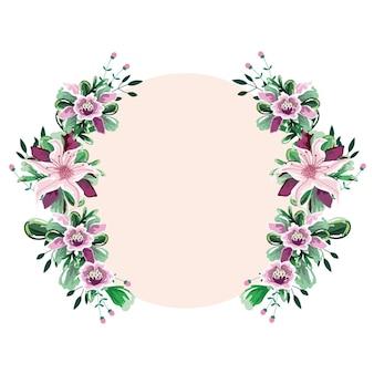 Akwarela rama koło kwiaty szablon