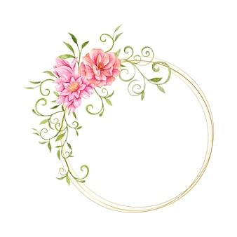 Akwarela rama kwiat i liście