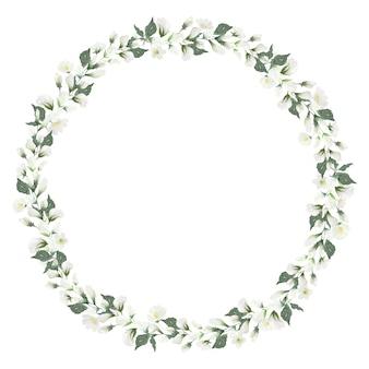 Akwarela rama wieniec mały biały kwiat