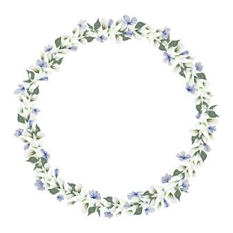 Akwarela rama wieniec mały jasnoniebieski kwiat