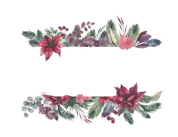 Akwarela rama z czerwonymi kwiatami i zielonymi liśćmi.