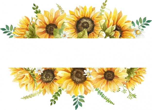 Akwarela rama z ręcznie malowaną ilustracją słonecznika