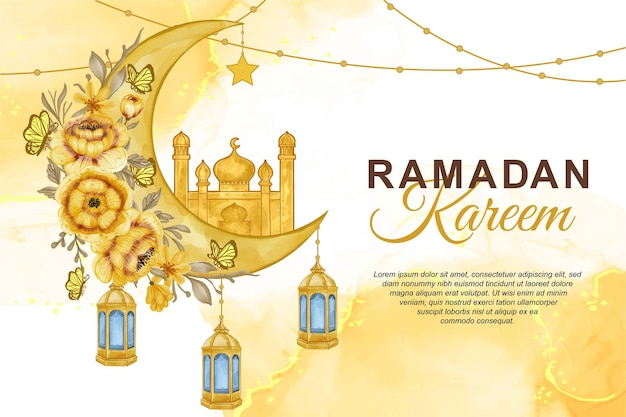 Akwarela ramadan kareem ilustracja tło