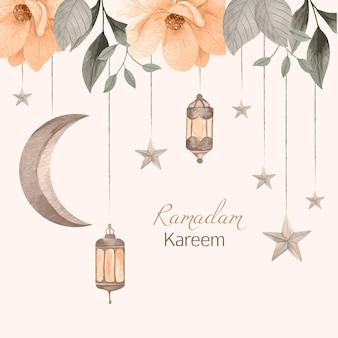 Akwarela ramadan kareem ilustracja
