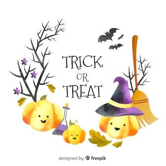 Akwarela ramka halloween z nikczemnymi dyniami