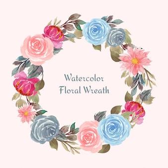 Akwarela ramka kwiatowy z kolorowymi kwiatami