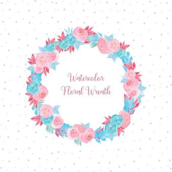 Akwarela ramka kwiatowy z kwiatami