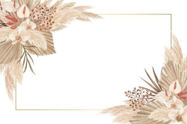 Akwarela ramka tematyczna oazy z suszonymi kwiatami