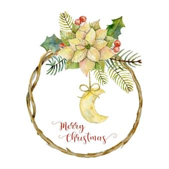 Akwarela ramka z gałązek świątecznych z poinsecją i księżycem zimowe wakacje kartka świąteczna wesołych świąt