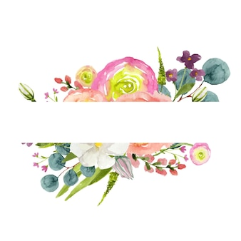 Akwarela ramka z kolorowymi kwiatami na białym tle z miejscem na kopię pośrodku