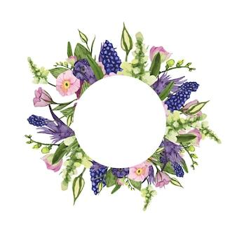 Akwarela ramka z ręcznie malowanymi wiosennymi kwiatami