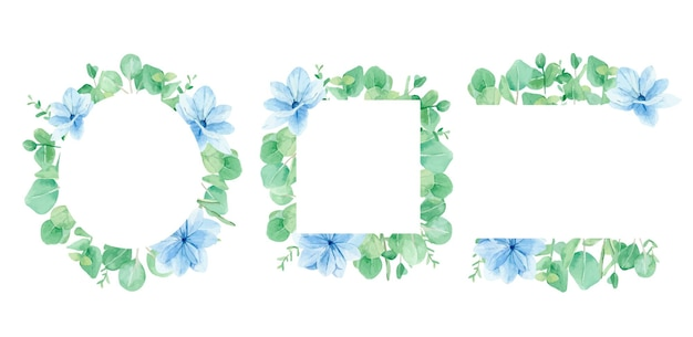 Akwarela ramki kwiatowe niebieskie kwiaty i gałęzie eukaliptusa