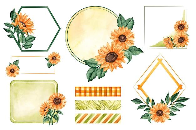 Akwarela ramki słonecznika i notatnik